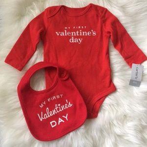 My First Valentine's Day Onesie & Bib 6 Months